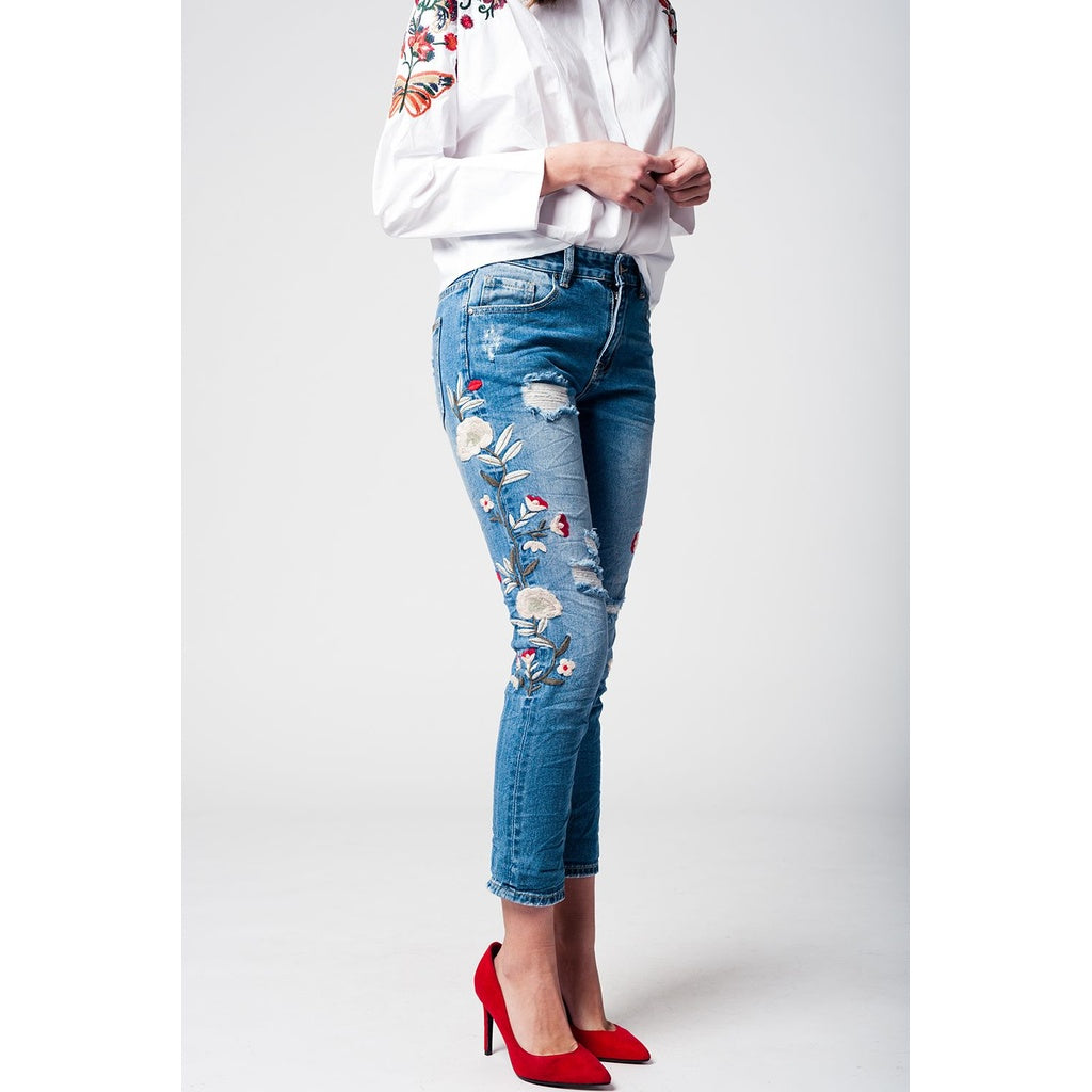 Jeans boyfriend embroidered - Stylishme