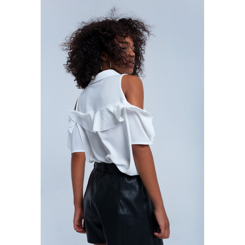 White shirt with cold shoulder - Stylishme