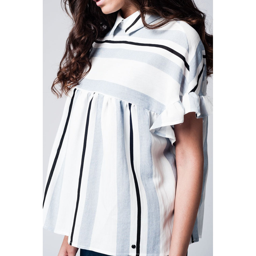 Blue smock top in stripe with ruffle sleeve - Stylishme