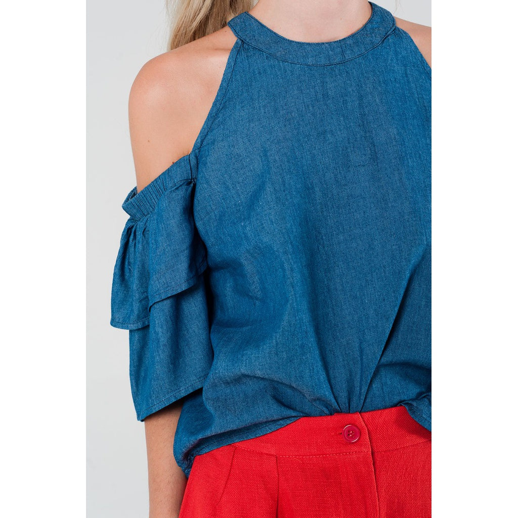 Cold shoulder dark denim top - Stylishme