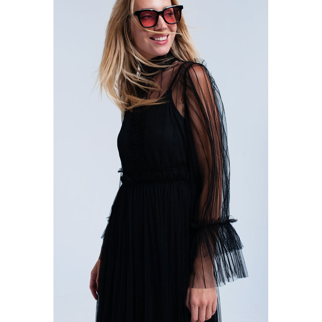 Layered tulle black dress - Stylishme