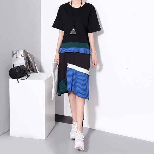 Emon Color Block Pleated Dress - Black - Stylishme