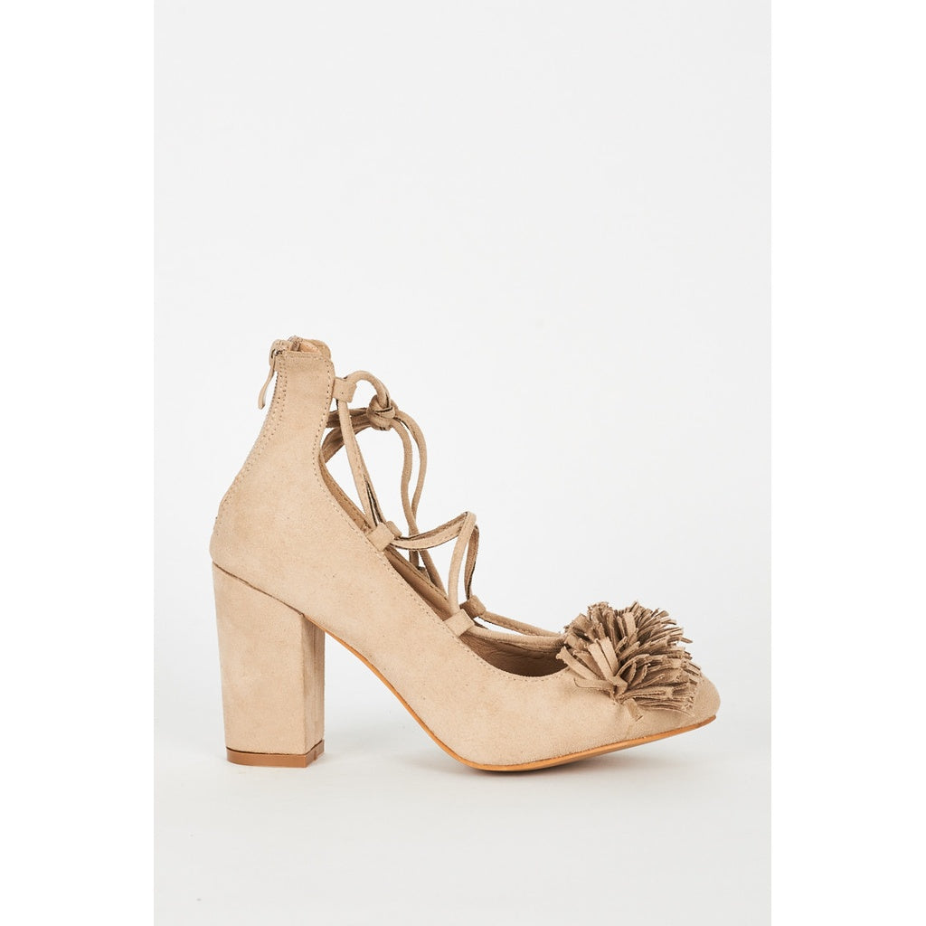 Beige Lace Up Fringed Faux Suede Block Heel Shoes - Stylishme