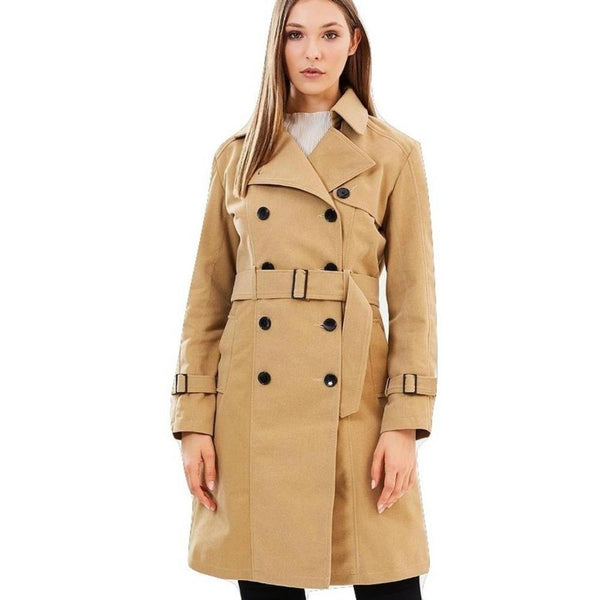 Vegan Suede Coat 'Anne' Camel Color - Stylishme