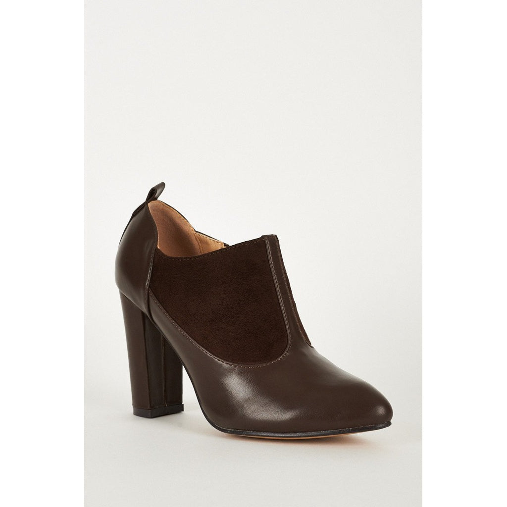 Faux Suede and Leather Ankle Boot With Stitching Details in Brown - Stylishme