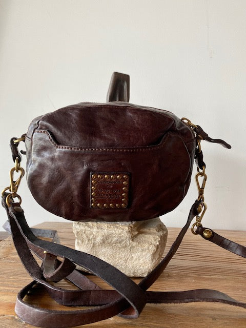 Campomaggi Leather Inlay Oval Crossbody