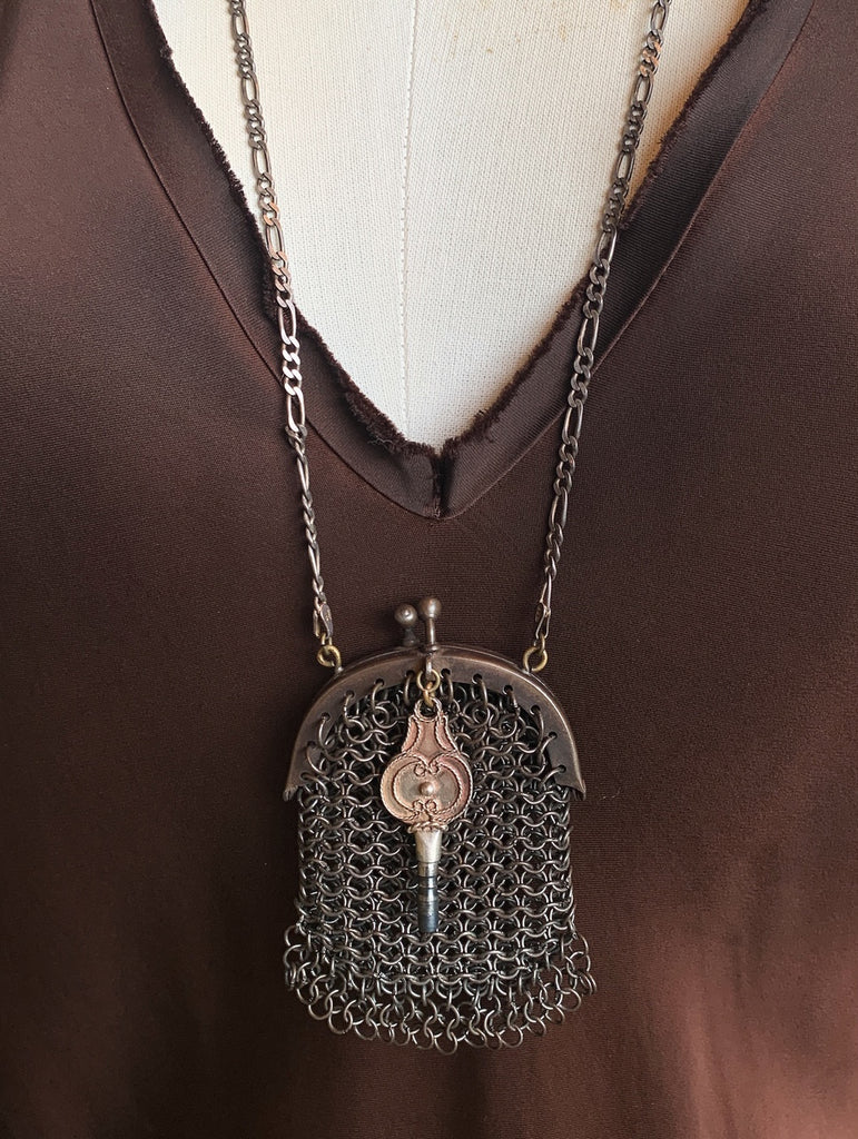 Vintage Jules Metal Mesh Pouch Necklace