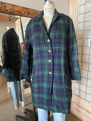 Hazel Brown Plaid Wool Overcoat