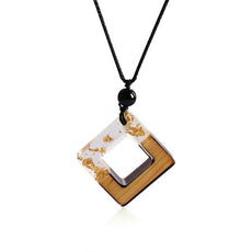 Gold Flakes Square Necklace