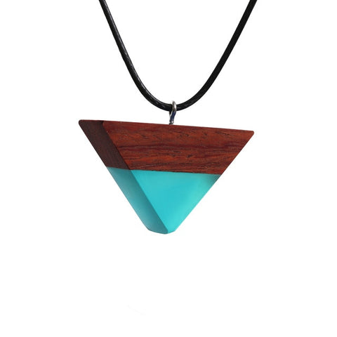 Inverted Triangle Resin Wood Necklace