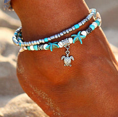 Multi Layer Starfishes and Turtle Bead Anklet