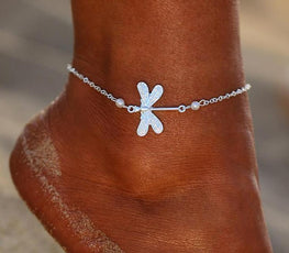 Silver Color Dragonfly Anklet