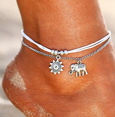 Vintage Star And Elephant Double Layer Anklet