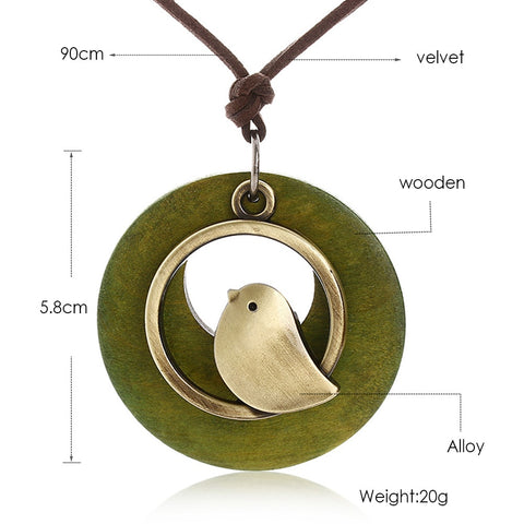 Singing Bird Green Wood Necklace