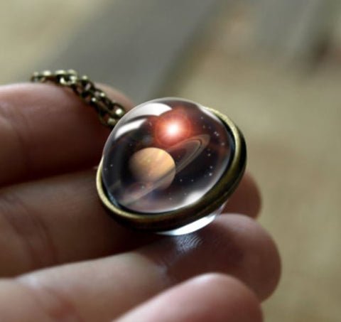 Saturn Double Glass Necklace