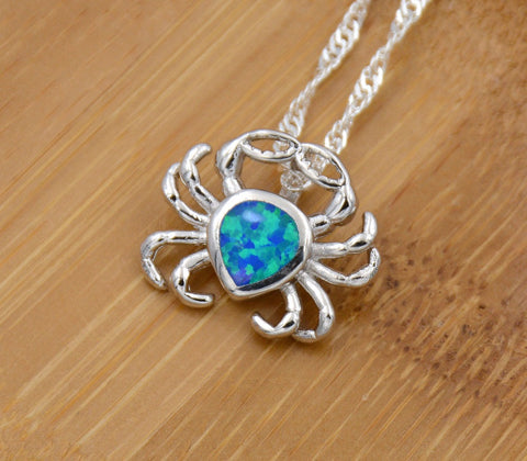 blue opal crab necklace helping animals at risk blue opal crab necklace mozeypictures Gallery