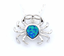 Blue Opal Crab Necklace