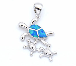Blue Opal Turtle Family Necklace