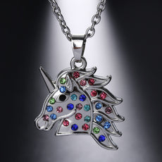 Multicolor Crystal Unicorn Necklace