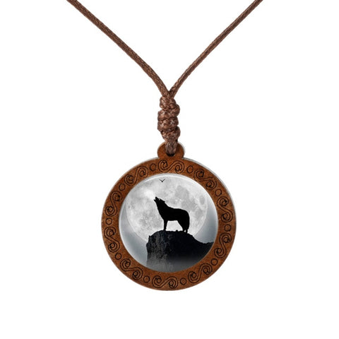 Howling Wolf  Wood Necklace