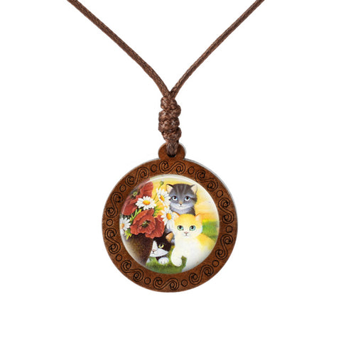 Friendly Cats Wood Necklace