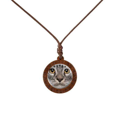 Cat's Face  Wood Necklace