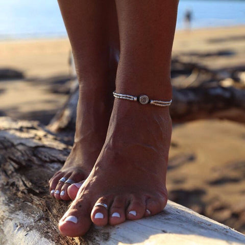 2 pcs Starfish and Mandala Anklet