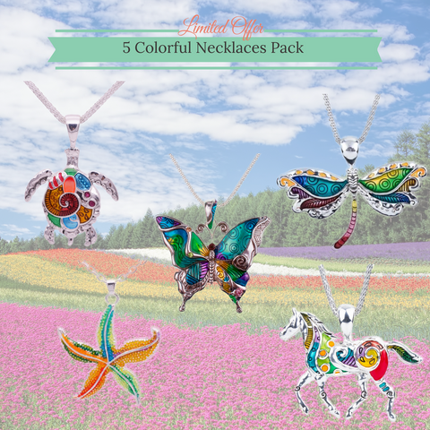 5 Colorful Necklaces Pack