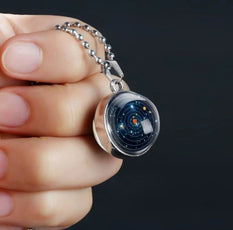Planets Rotation double Glass Necklace
