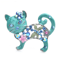 Free Lovely Blue Cat Brooch