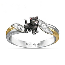 """I love My Kitty"" Black cat Ring"