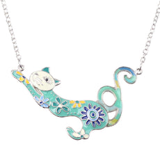 Mottled Cat Enamel Necklace