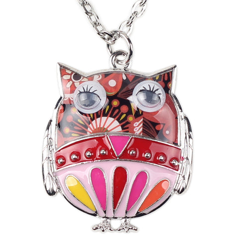 Multicolor Owl Enamel Necklace