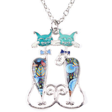 Cats Best-friends Enamel Necklace