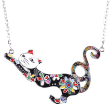 Jumping Cat Enamel Necklace