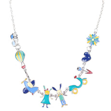 Multicolor Bunny Enamel Necklace