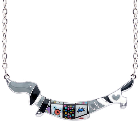 Multicolor Dachshund Enamel Necklace