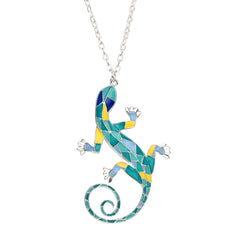 Stained Glass Style Gecko Necklace