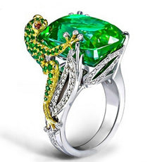 Green Frog Crystal Ring