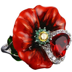 Free Red Flower Crystal Ring