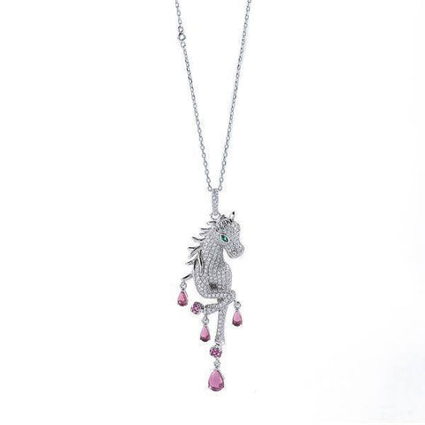 Sterling Silver, Platinum & Circonia Unicorn Necklace