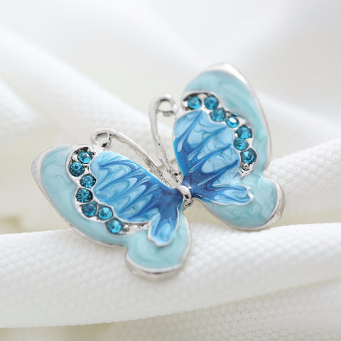Blue Crystal Butterfly Brooch