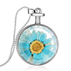 Dried Blue Sunflower Round Necklace
