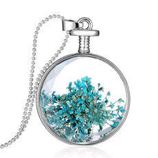 Dried Blue Flower Silver Round Necklace
