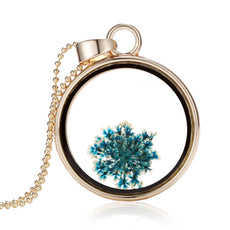 Dried Blue Flower Gold Round Necklace