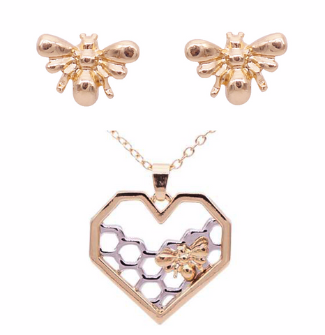 Wholesale  Bee Necklace And Earrings Set (12x Pack)