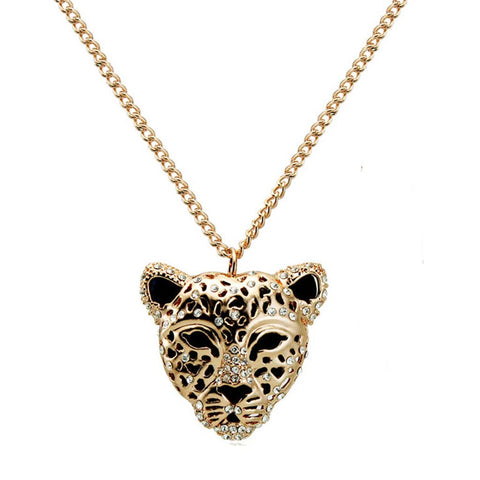 Big Cat Rhinestone Necklace