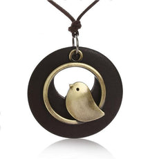 Singing Bird Brown  Wood Necklace