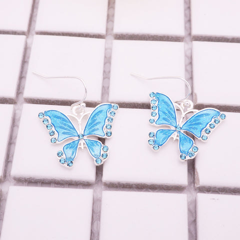 Free Crystal Blue Butterfly Earrings