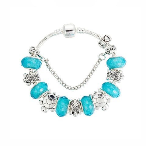 Blue Handmade Sea turtles Charm Bracelet